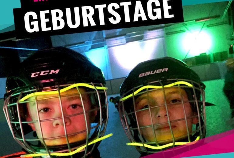 Einzigartige Geburtstage mit Eishockey und Eisstock Schiessen im Schwarzlicht bei SLIDE COLOGNE - Kölns 1. Kunsteis-Arena in Dellbrueck