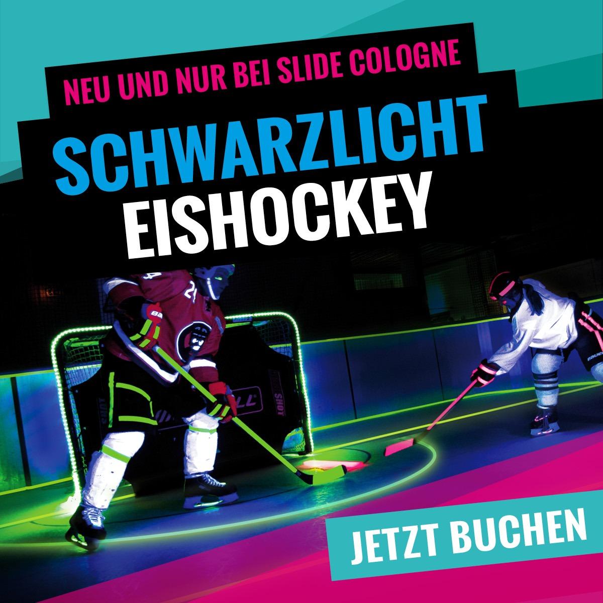 Schwarzlicht Eishockey bei SLIDE COLOGNE - Kölns 1. Kunsteis-Arena in Dellbrueck