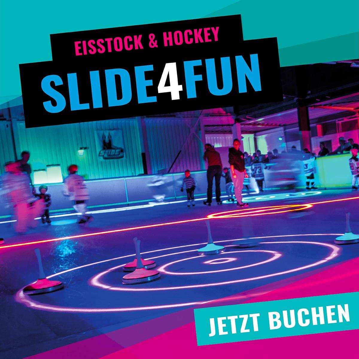 SLIDE COLOGNE Angebotsteaaser Schwarzlicht Eishockey und Eisstock